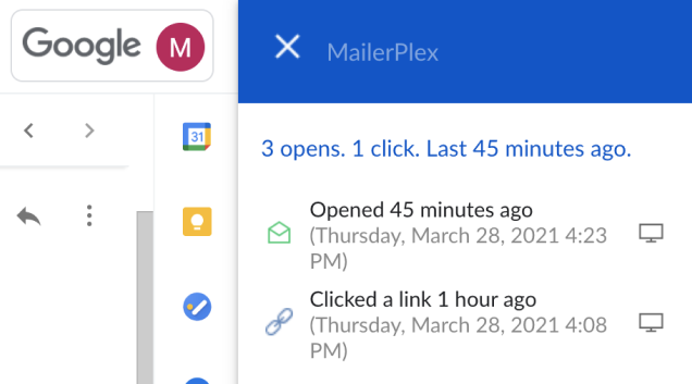 Email tracking details inside gmail